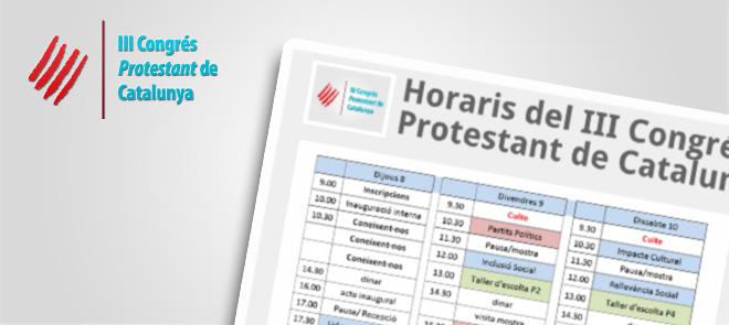 Horaris 3r Congres Protestant de Catalunya